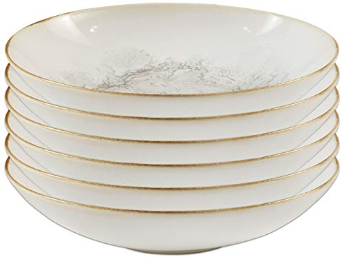 Stone & Beam Rustic Reactive-Glaze Stoneware 6-Piece Dinner Bowl Set, Gold-Rimmed Smoke