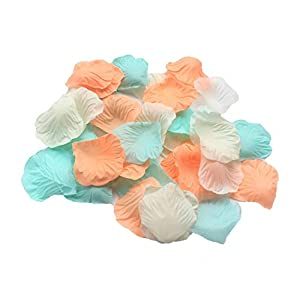 ALLHEARTDESIRES 900 Pack Mixed Pastel Peach Ivory Mint Green Silk Artificial Flower Petals for Wedding Confetti Flower Girl Bridal Shower Girl Birthday Nursery Room Decoration 25