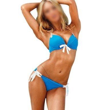 Realmente Pretty azul y blanco para Bikini con parte superior acolchada de Super suave con aro para Ultra Push Up–Cuello Bikini bañadores de. Anudado