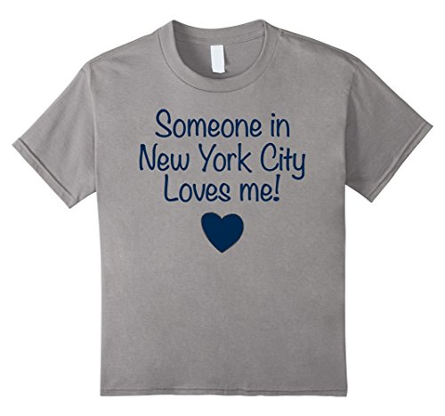 Kids Someone in New York City Loves Me! T-Shirt | Cute Gift NYC 12 Slate