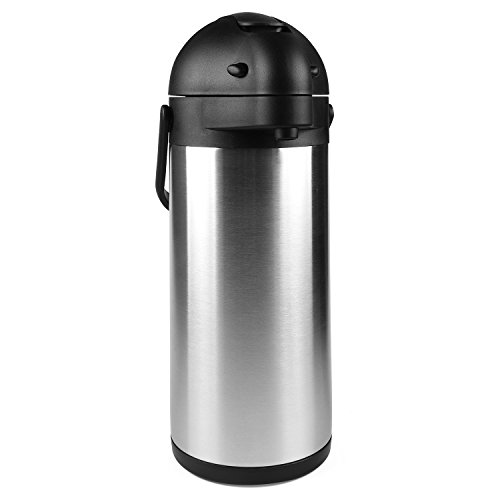 101 Oz (3L) Airpot Thermal Carafe / Lever Action / Stainless Steel Thermos / 12 Hour Heat Retention / 24 Hour Cold Retention by Cresimo - Coffee Hot Beverage