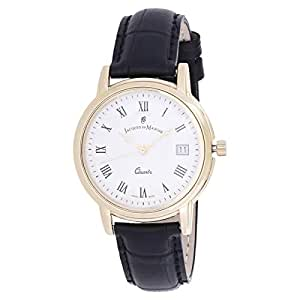 Jacques Du Manoir Men's White Dial Leather Band Casual Watch - 98157G