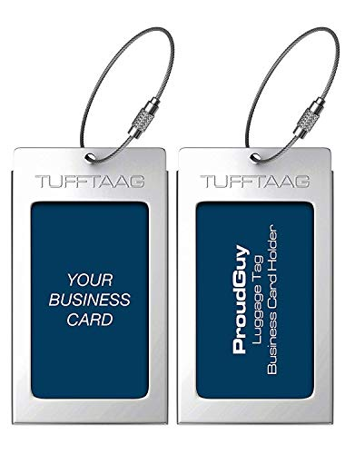 Luggage Tags Business Card Holder TUFFTAAG PAIR Travel ID Bag Tag - White Silver
