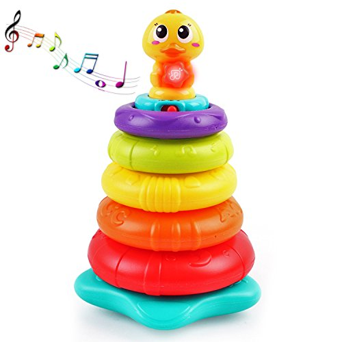 Feature-Rich Stacking Rainbow Duck with Unique Sound & Light Effects | Best Educational Stacking Rings for Kids | Teach Colors, Shapes, Numbers, and the Alphabet | Great Gift Idea for Boys & Girls