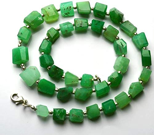 GemAbyss Beads Gemstone 1 Strand Natural 16 inch Natural Gemstone Super Quality Chrysoprase Green Color Faceted Nuggets Full Strand Beads Necklace 8 to 10.5 MM -