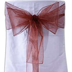 BBCrafts Organza Chair Sash - (Pack of 10 Piece - 8 inches x 108 inches) (Copper)