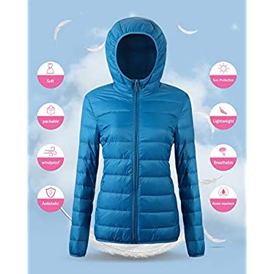 EQUICK Women's Puffer Packable Down Jacket Ultra Light Weight Short Coat with Travel Bag: Clothing