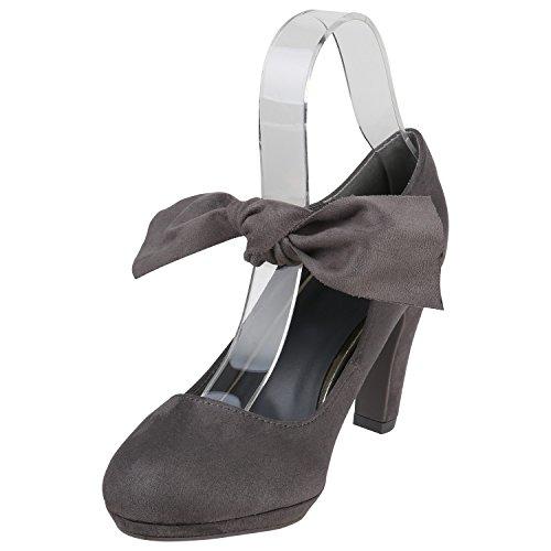 Grau Janes mit Schleifen Pumps Damen Schleifen Stiefelparadies Flandell Mary Lack Blockabsatz Bnz7cqW