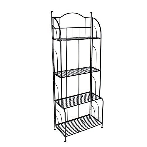 PAO MOTORING 4-Tier Metal Bakers Rack Storage Kitchen Metal Baker Organizer Shelves, Black by PAO MOTORING
