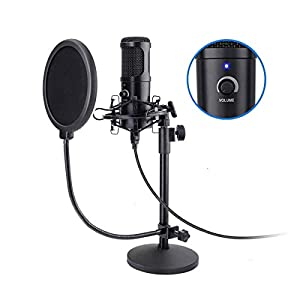 USB Podcast Microphone,NASUM 192KHZ/24BIT Plug&Play USB Stream Condenser Microphone with Sound Card,Boom Arm,Shock Mount,Pop Filter and Windscreen, for Gaming, Recording,Voiceover, and YouTube