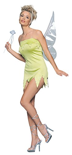 Leg Avenue Womens Fairy Tinkerbell Cosplay Outfit Fancy Dress Sexy Costume, M/L (10-14) (Tinkerbell Costume Cheap)