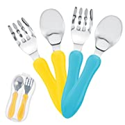 Toddler Forks and Toddler Spoon Silverware Set | Toddler Utensils with Toddler Fork and Baby Spoon| Spoon for Toddler | Baby Fork and Baby Spoon Travel Utensils with Case |Toddler Silverware BPA Free