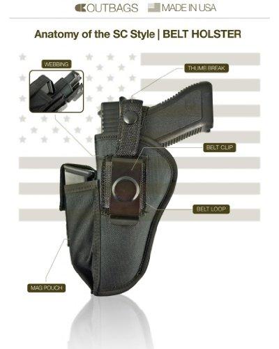 Outbags OB-04SC (LEFT) Nylon OWB Belt Gun Holster with Mag
