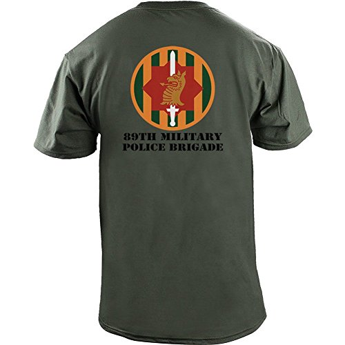 Brigade Fitted T-shirt - Army 89th Military Police Brigade Veteran Full Color T-Shirt (L, Green)