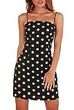 MITILLY Women's Summer Sleeveless Polka Dot Spaghetti Strap Casual Slim Halter Dress X-Large Black