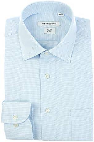 (ザ・スーツカンパニー) ワイドカラードレスシャツ 織柄 〔EC・FIT〕 サックスブルー×ホワイト