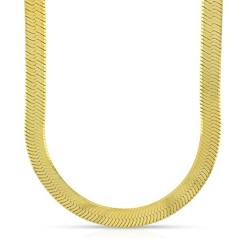 10K Yellow Gold 6.5mm Imperial Herringbone Chain Necklace 16