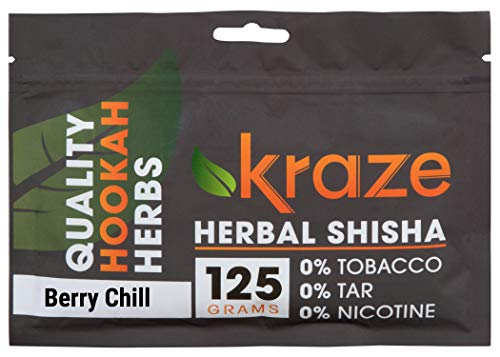 Kraze Hookah Tobacco-Free Herbal Shisha Molasses, 125g (Berry Chill)