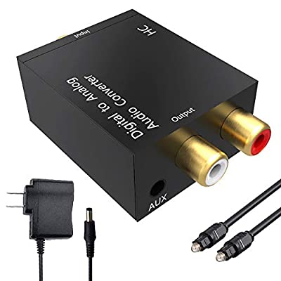 Digital to Analog,Digital to Analog Converter,DRLSS DAC Digital SPDIF Optical to Analog L/R RCA Converter Toslink Optical to 3.5mm Jack Audio Adapter for PS3 Xbox HD DVD PS4 Amps Apple TV Home Cinema