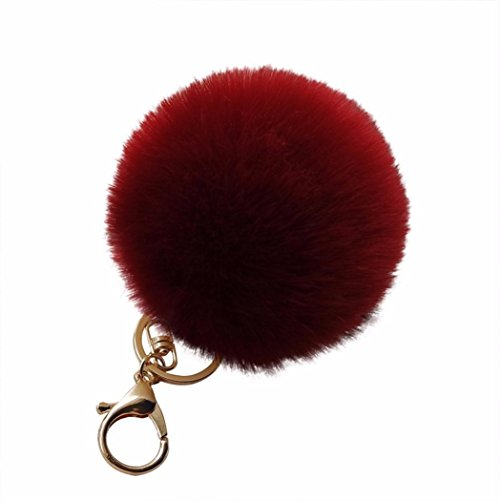 Amiley Fluffy Faux Rabbit Fur Ball Charm Pom Pom Car Keychain Handbag Wallet Backpack Key Ring (Red)