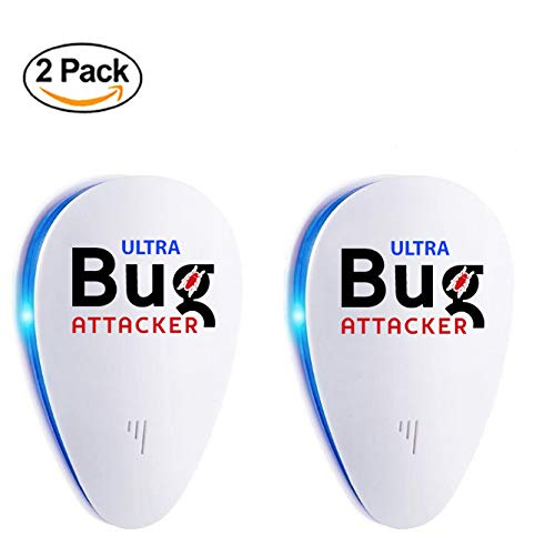 Dual Chip 2018 Ultra Bug Attacker Pest Repeller Control & Prevention | Ultrasonic Stop Insect & Mouse/Rat Repellant | Easy to Use, Plug In, Reject & Stay Away from Mosquito, Cockroach, Ants, Flies. - Pest Stop Mouse