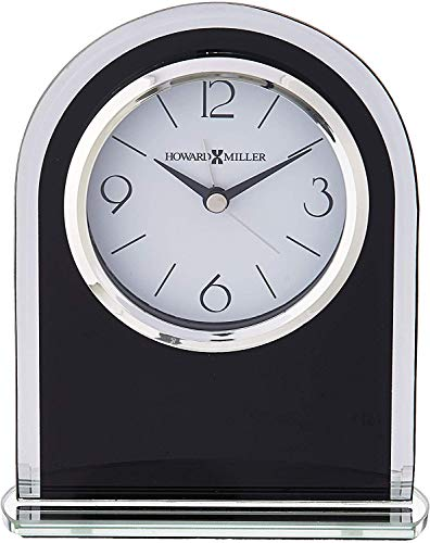 Howard Miller Ebony Luster Table Clock 645-702 - Modern Glass with Quartz, Alarm Movement