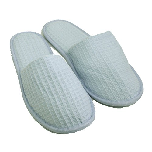 Waffle Closed Toe Adult Slippers Cloth Spa Hotel Unisex Slippers for Women and Men Wholesale 100 Pcs (One Size 11.5'', Sky Blue) by TowelRobes