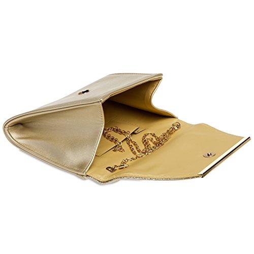 CASPAR TA386 Pochette de soirée effet croco pour femme - Clutch enveloppe stylé - Sac à main avec longue chaînette Doré