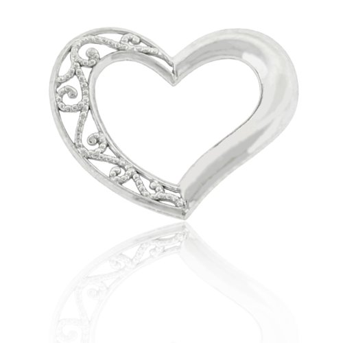 White Gold Small Floating Heart Charm, 10k