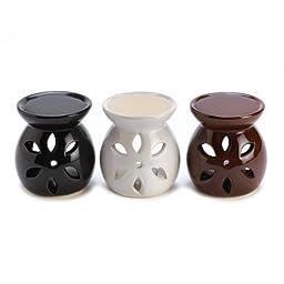 Gifts & Decor Ceramic Mini Oil Warmer Trio Tealight Candle Holder Set