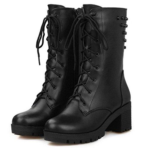 COOLCEPT Damen Trend Einfachen Schuhen mit Hohen Absätzen Blockabsatz Knöchel Martin Stiefel mit Nieten Schnürung Schwarz