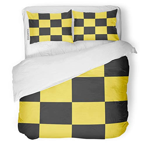 SanChic Duvet Cover Set Yellow Abstract Taxi Checkered Pattern Auto Black Cab Decorative Bedding Set with Pillow Sham Twin - Chess Set Auto