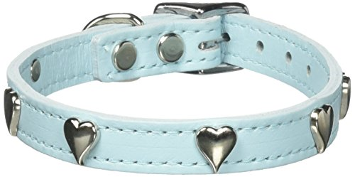OmniPet Signature Leather Dog Collar with Heart Ornaments, Baby Blue, 14