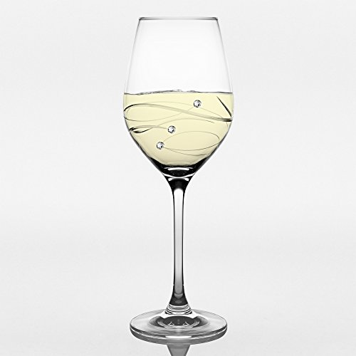 - Barski - Handmade Glass - Sparkle - White Wine Glass - Decorated with Real Swarovski Diamonds - Gift Boxed - 12.5 oz. - Made in Europe - Set of 4