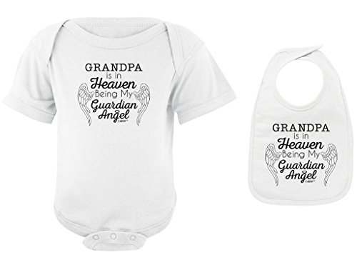 Baby Registry Gifts Grandpa in Heaven Being Guardian Angel White Bodysuit White Bib Bundle Newborn (Words Of Sympathy For Loss Of Newborn Baby)