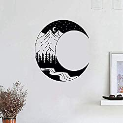 Wall Stickers Art Decor Decals Moon Landscape Forest Mountain for Kids Baby Room