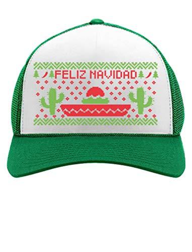 (Tstars Feliz Navidad Mexican Ugly Christmas Cap Funny Xmas Party Trucker Hat Mesh Cap One Size)