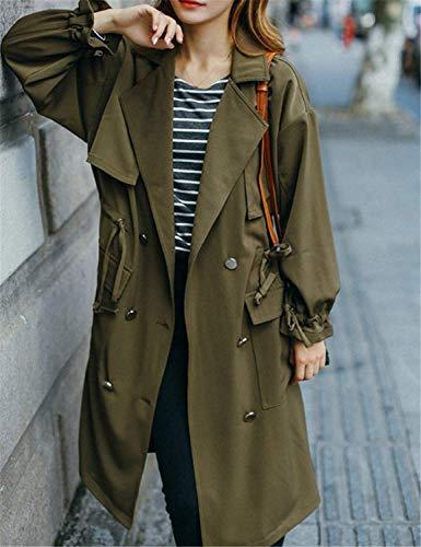 Transición Bolsillos Swag Streetwear Delanteros Armygreen De Largos Cordón Mujer Botonadura Gabardinas Solapa Con Larga Manga Invierno Retro Gabardina Abrigo 8Zq4nxFR