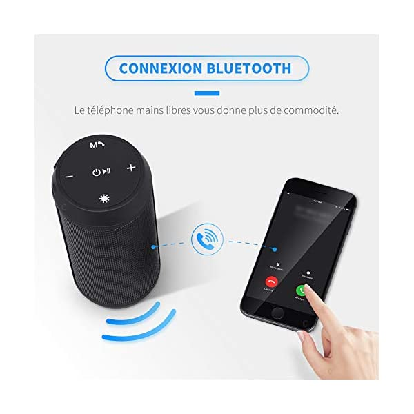 Enceinte Bluetooth Portable Lumineuse Haut-Parleur Bluetooth sans Fil avec LED Lumière Radio FM Fonction TF Carte TEL ELEHOT 4