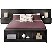 Bowery Hill King Platform Storage Bed with Floating Headboard in Black
