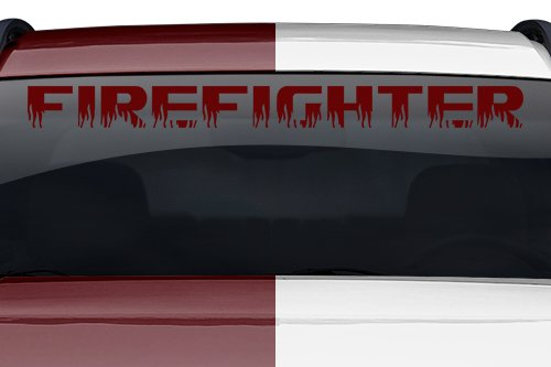 Maroon Truck (Sticky Creations - Firefighter Flame Font Flaming Fire Letters Lettering or Custom Text Windshield Decal Sticker Vinyl Graphic Back Rear Window Banner Car Truck Boat | 36