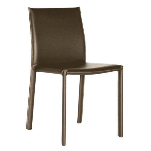 Baxton Studio Leather Dining Chair, Set of 2, Espresso Brown