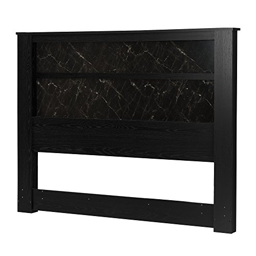 - South Shore Gloria Headboard with Lights, King 78-Inch, Black Oak and Black Marble