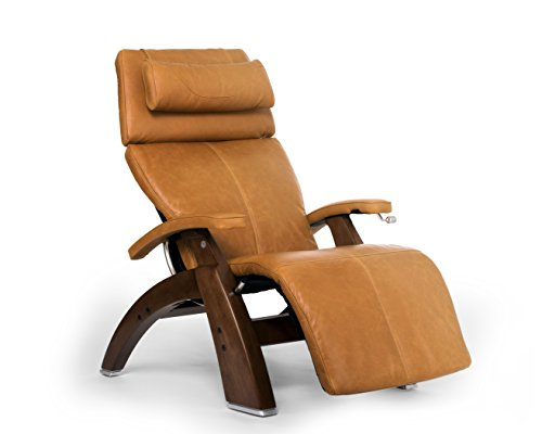 Perfect Chair 'PC-420' Premium Full Grain Leather Hand-Crafted Zero-Gravity Walnut Manual Recliner, Sycamore