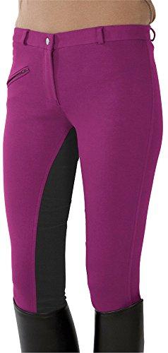 PFIFF Kinder Reithose Vollbesatzhose, Pink-Grau, 134, 101197-222