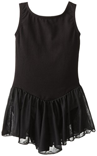 Clementine Apparel Girls' Big (7-16) Leotard Dress Sleeveless Tank One Piece Ballerina Top Dancewear Costume, Black, 12-14