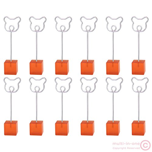 dolly2u 12pcs cube bear wire stand card memo photo picture clip holder love cartoon#Orange (In Cab Scanner)