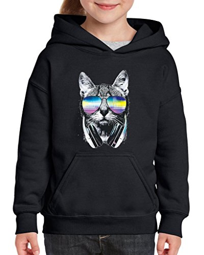 Xekia Cool Cat with Headphones and Sunglasses Hoodie For Girls and Boys Youth Kids Small Black -