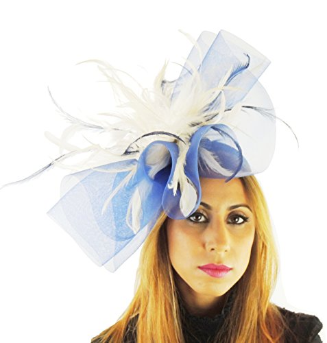 Hats By Cressida crin & Feathers Elegant Ladies Ascot Wedding Fascinator Hat Navy & Cream by Hats By Cressida