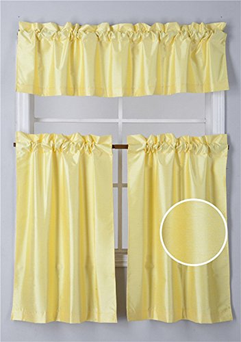 Fancy Collection 3 Pieces Faux Silk Blackout Kitchen Curtain Set Tier Curtains and Valance Set Solid Yellow Window Set Thermal Backing Drapes New